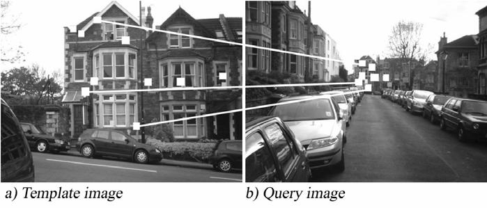 Figure 7: Scaled descriptors were used and with a distance ratio of 3.67 the query image b) has been matched against the database image a).