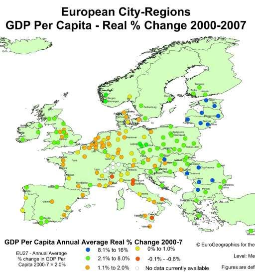 Impact Boom European City Regions Growth Years Growth across Europe, range of performance Strong growth Baltics, Central &