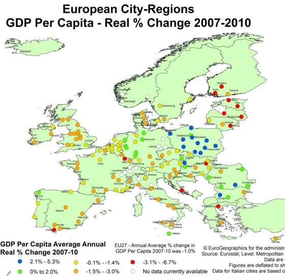 Recession Impact Crisis European City Regions Falls across Europe Reversal in Baltics Continuing strong performance in Poland & South