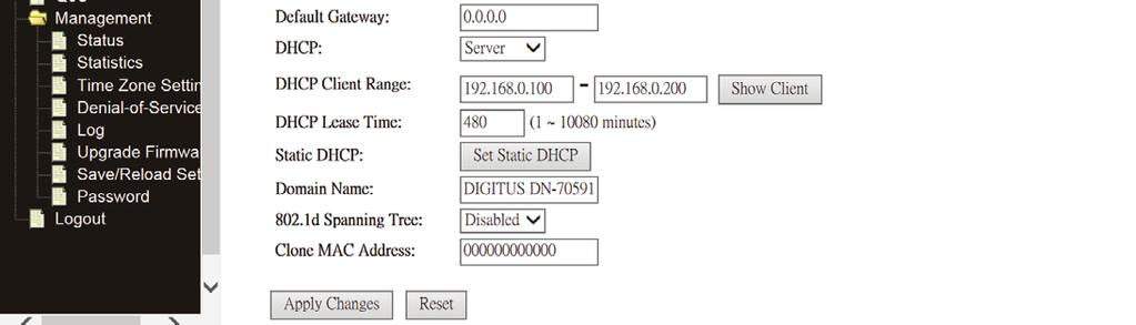 address of your Router or reset it to the factory default as 192.168.0.1 An address code that determines the size of the network. Normally use 255.255.255.0 as the subnet mask.
