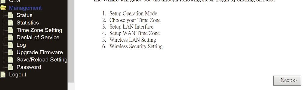 Setup Wizard After successfully login, the following Router Summary will be displayed on your web browser: The setup wizard will guide you to configure access point for first time.
