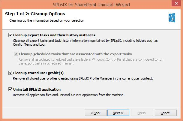 Select required Cleanup Options as shown below: While uninstalling the application, your options are: 1. Cleanup export tasks and their history instances This will remove entire export history i.e. the tasks you created while exporting content from SharePoint to the external destination.