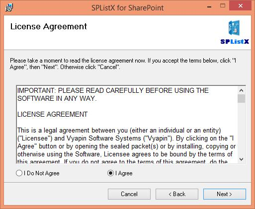 The License Agreement window is shown as below. Please go through the License Agreement information at-least once to familiarize yourself with the contents.