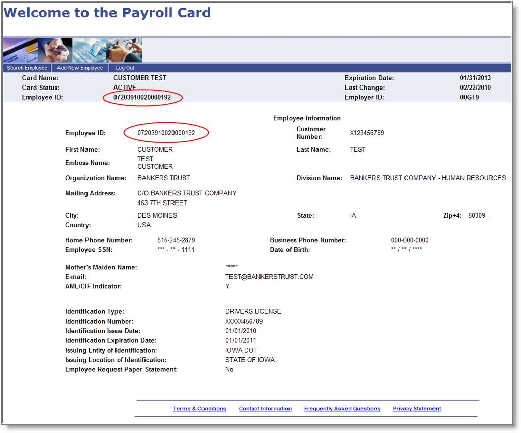 The cardholder review screen: The MyPayCard card will be mailed to the employee and should be received in 10 to 14 days.