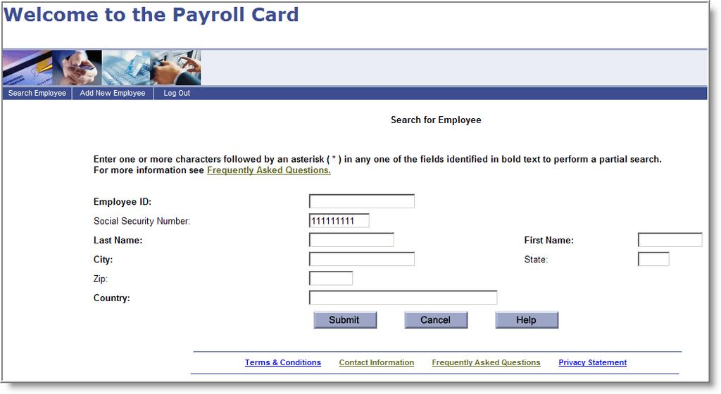 Adding the MyPayCard to Direct Deposit Once the employee has been added, Bankers Trust will create a MyPayCard card and mail the card and the Terms and Conditions directly to the employee.