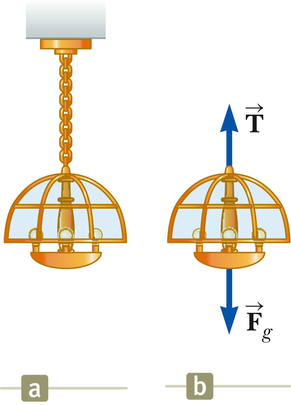Equilibrium, Example A lamp is suspended from a chain of negligible mass.