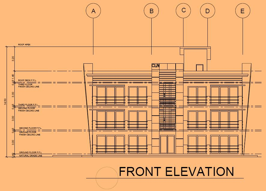 Front Elevation Pdf : Design of a three storey commercial building with titanium