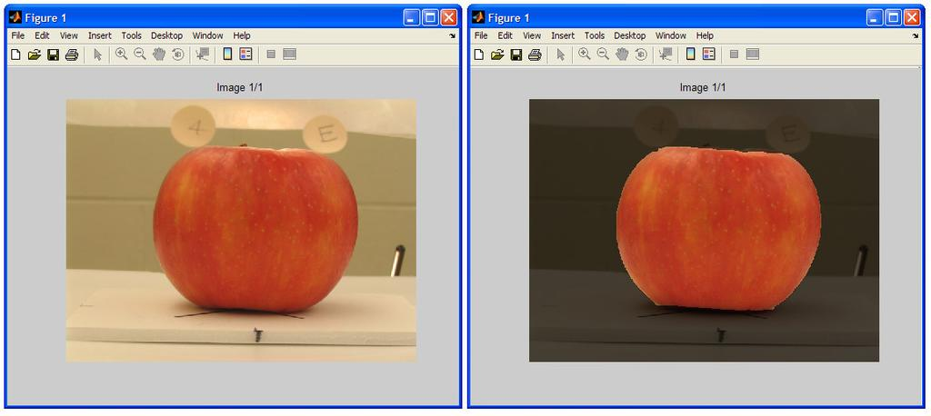 Figure 3. The implemented color analyzer image processing tool. Two screenshots of the implemented color analyzer software tool showing the original image (left) and the segmented result (right).