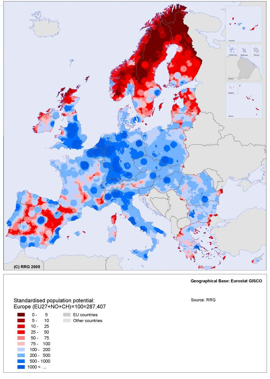 Map 6 Population potential in Europe 58 Source: