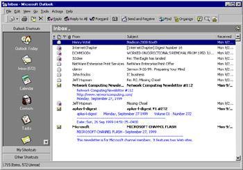features besides e-mail, including a powerful contact management feature and an integrated calendar and task list. Figure 5.10 shows the screen of Outlook 98.