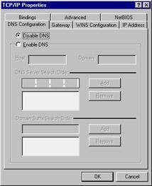 4. To configure DNS resolution on this Windows 95/98 client PC, you must first enable DNS resolution by clicking the radio button labeled Enable DNS. 5.