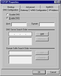 There are four areas that you can configure on this tab: Host This field allows you to set the actual host name of the Windows 95/ 98 PC. The default name for this field is the actual name of the PC.