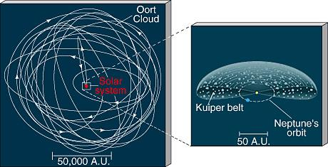 The Oort Cloud The Oort Cloud is a spherical shell of billions of icy bodies 50,000 AU