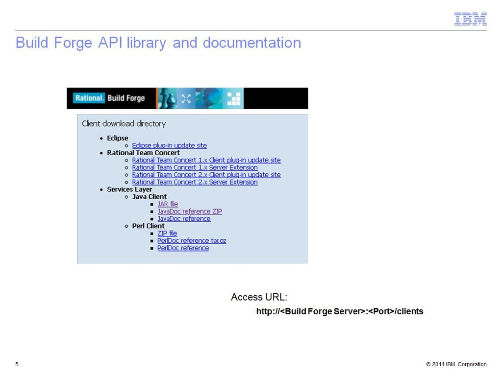 This is a presentation of the Java API for IBM Rational Build Forge