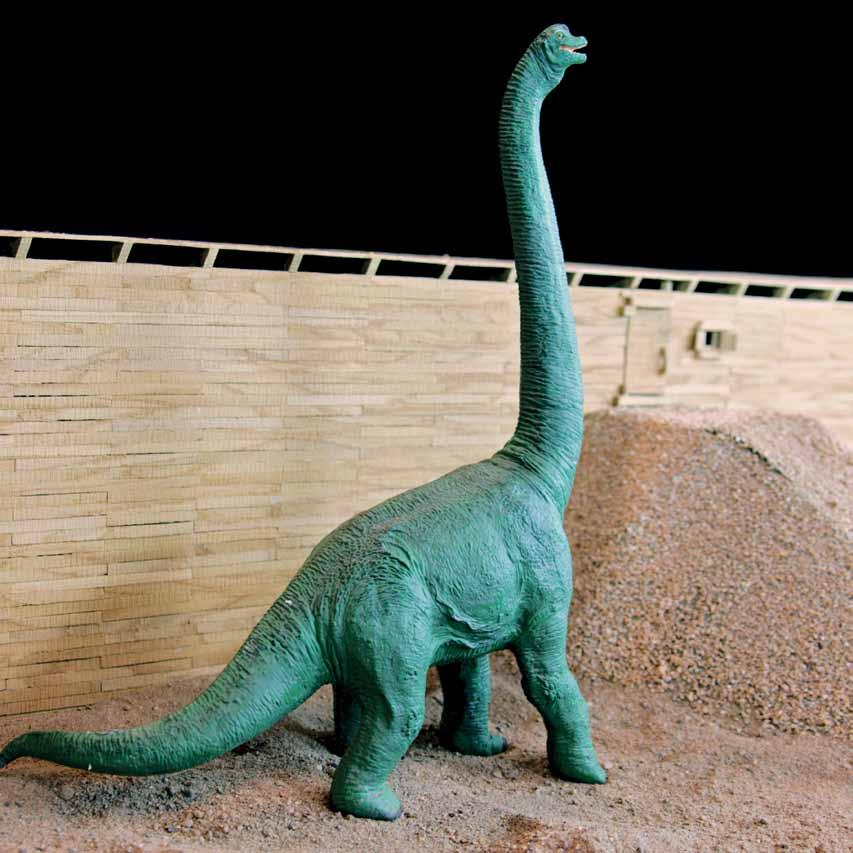 The ark and dinosaur pictured are 1/60th scale.