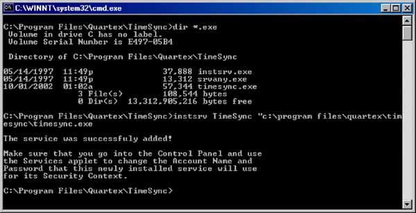 1.6 HOW TO INSTALL TIME SYNC AS A WINDOWS SERVICE This method works well on Windows NT 3.51, 4 and 2000. All services under NT are controlled by the Service Control Manager (SCM).