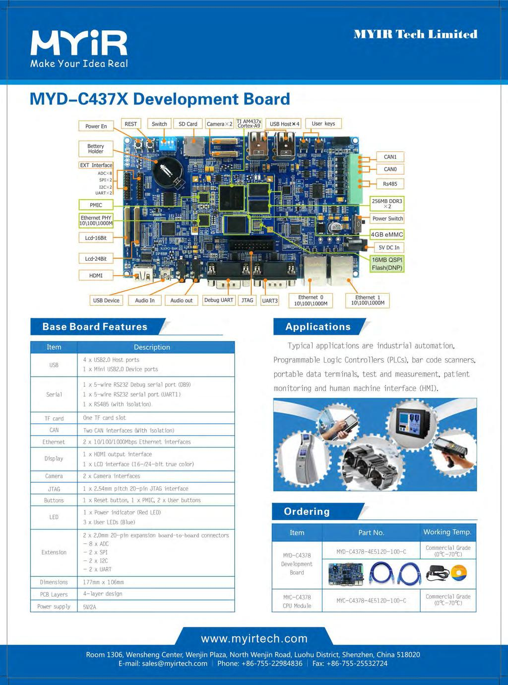 Myir Makeour Idea Real Pdf The Miniature Circuit Board Has 256mb Of Ram One Audio And Two Usb Mvd C437x Development Typical Applications A E I Ndustrial Automation Item Serial