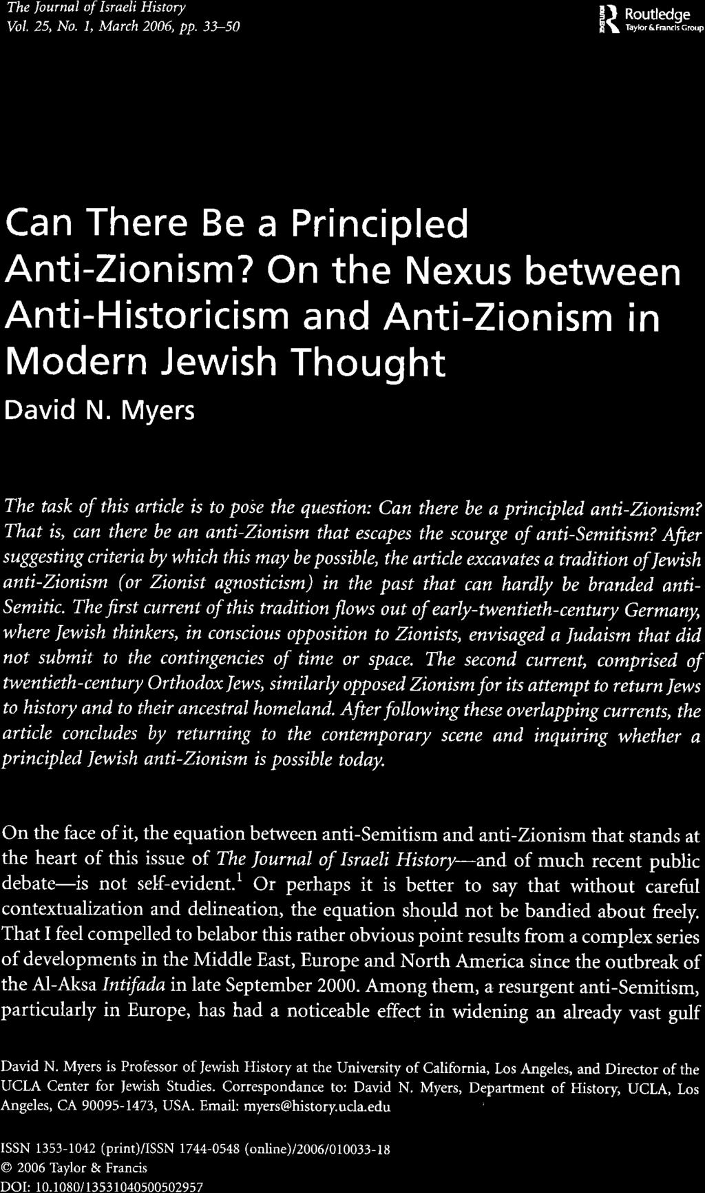 Historicism, the Holocaust, and Zionism: Critical Studies in  Modern Jewish History and Thought