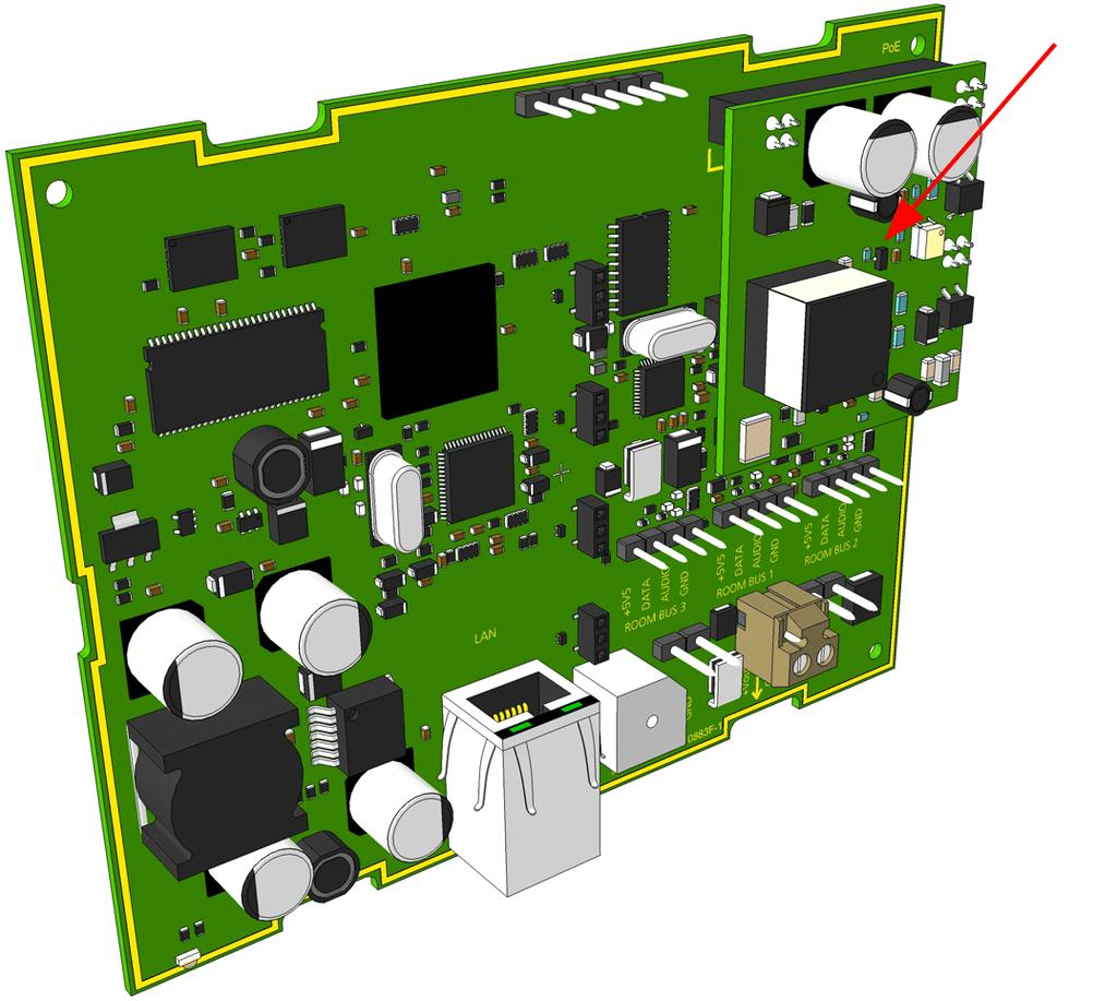 System Description Telecare Ip Nurse Call Pdf Gps Gsm Module Schematics Rev11 Control Equipment The Poe Is Piggy Back Mounted On Room Controller Printed Circuit Board By