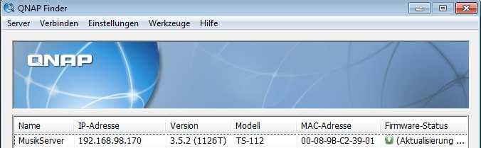 Hardware: QNAP TS-112 with firmware Build 1126T with 500 GB