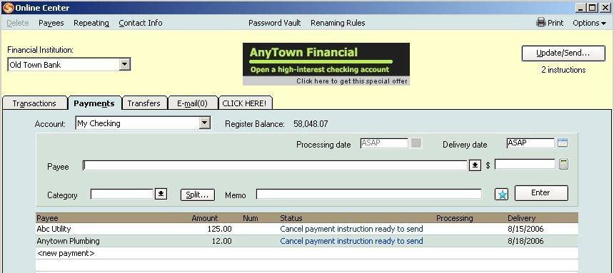 First Security Bank Of Nevada Quicken Quickbooks Intuit