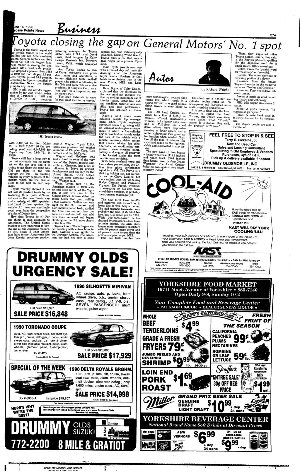 on E~ gap Pointe News 141990 General rosse the oyota closing ne Motors 9EH2DIW