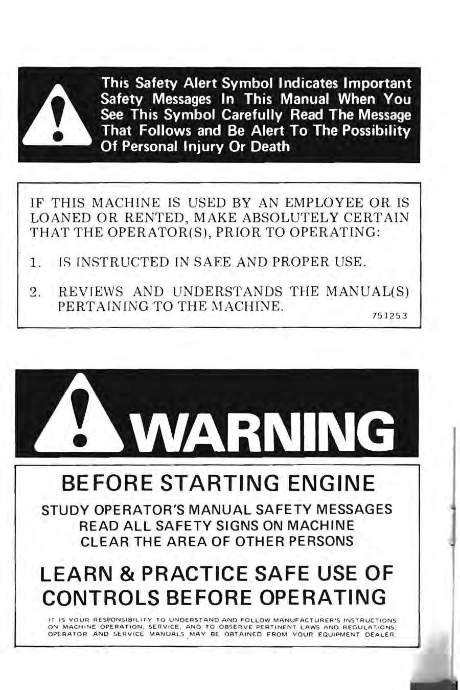 446 Tractor Sin And After Operators Manual No Pdf Case Wiring Diagram If This Machine Is Used By An Employee Or Loaned Rented Make Absolutely