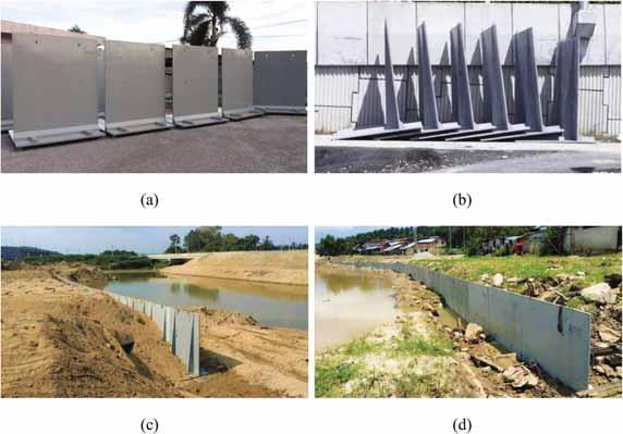 xxxviii Y.L. Voo et al. Fig. 10. (a) and (b) UHPC retaining wall at storage yard; (c) and (d) 120 m long retaining wall installed for slope and river protection. 3.