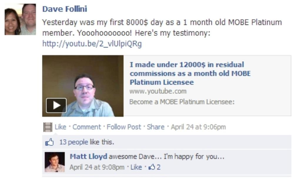 A Real Life Example Of How The MOBE Compensation Plan Allowed Platinum Member To Earn