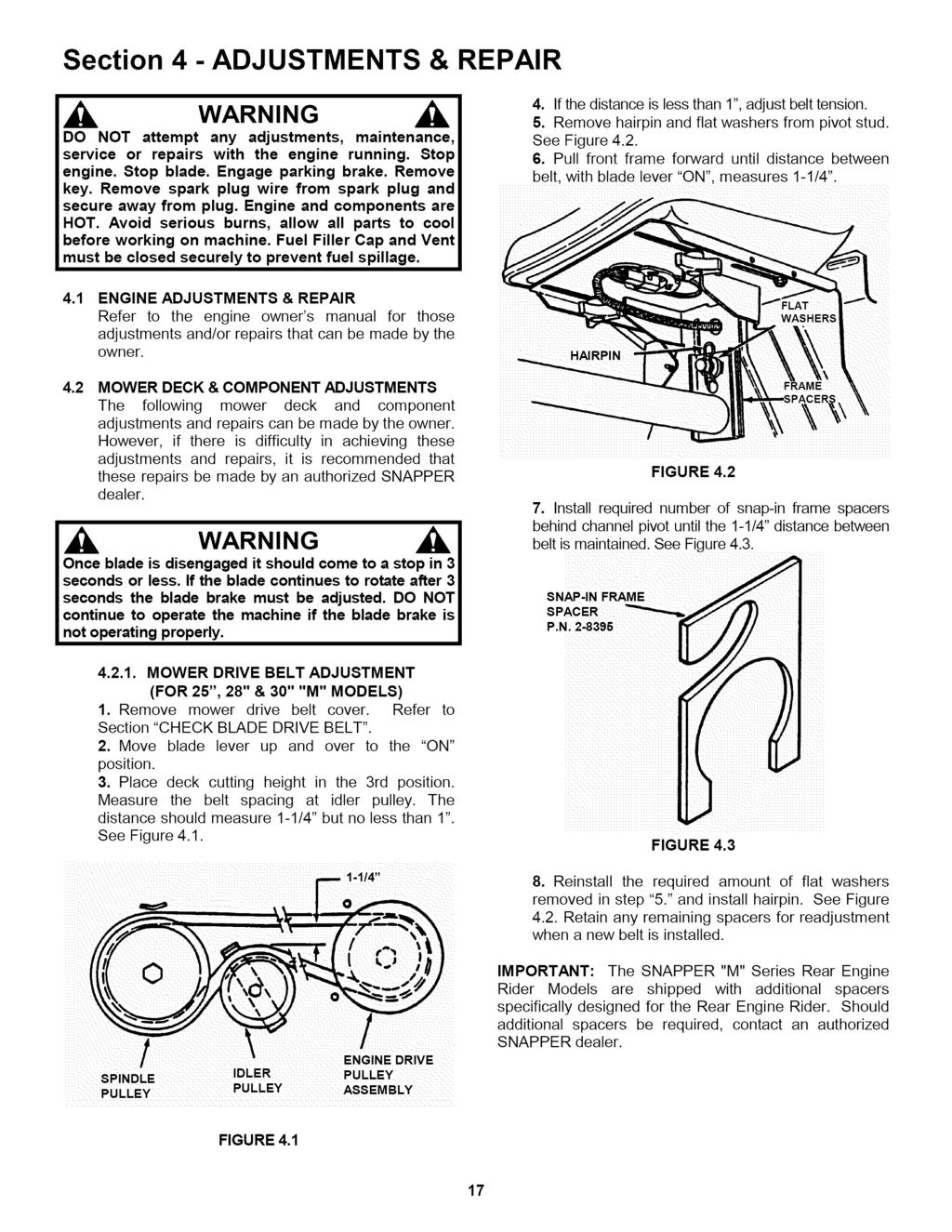 Rear Engine Riding Mower Series 19 Pdf Deck Belt Diagram In Addition John Deere Section 4 Adjustments Repair Do Not Attempt Any Maintenance Service Or