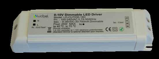 Driver Dimmable driver 1-1V variation exclusively - Pre-wired IP2 IK8 wiring scheme with 1-1V pushbuton Product References Compatibility DIM2 3 76 179 44 753 AR111 / Powerlight / Lucipanel 1W / Spot