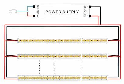 Characteristics Measures Type Strip Number of LED 6 LED /m CRI 75 Power consumption Power supply L : 5 mm, I : 1 mm (IP2) or 12mm (IP67), E : 4 mm 5m Spool divisible every three LEDs (5cm) 15W/m 12V