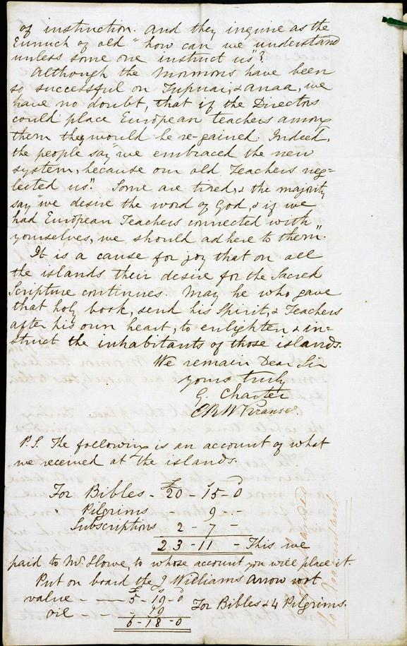 The final page of a letter from George Charter and Ernest R. W. Krause to Arthur Tidman, July 10, 1849.