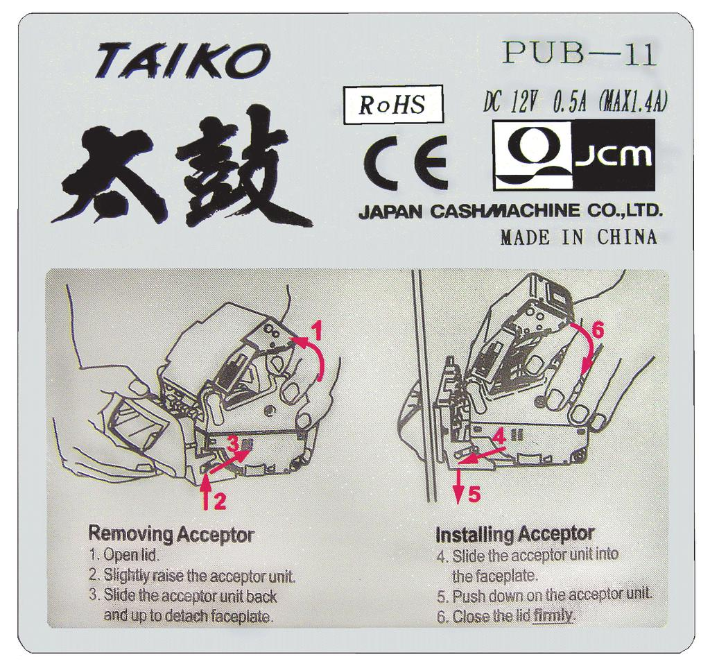 Taiko Series Banknote Acceptor Pub 7 11 Operation And Maintenance Electrical Wiring Registration Board Moreover Panhead Diagram Section 1 General Information Product Label Figure 9