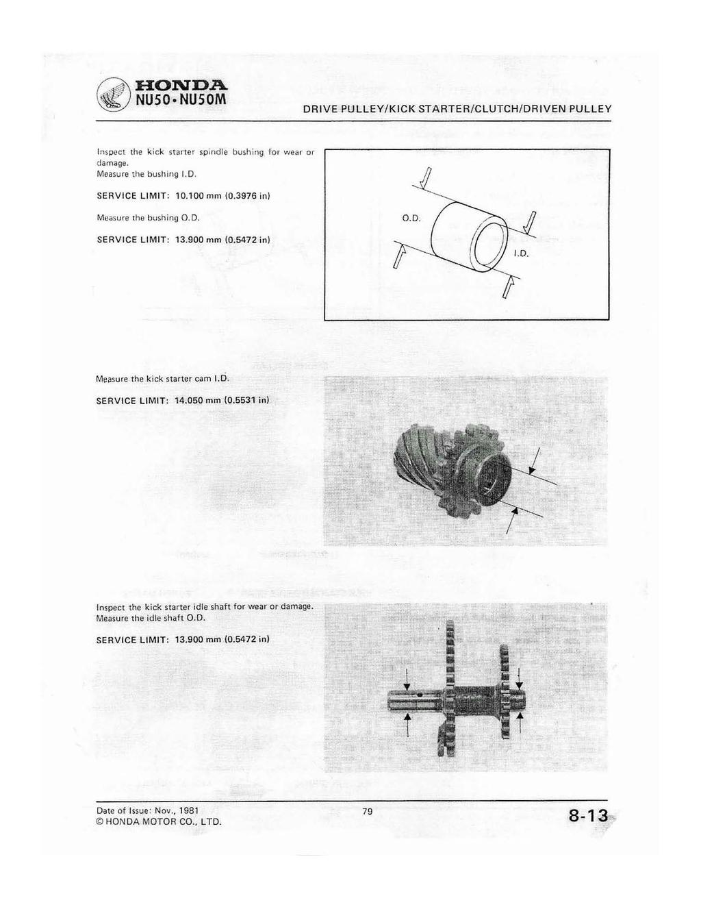 Nuso Nusom Drive And Driven Pulley Kick Starter Clutch N M Kg Ft Honda Nu50 Wiring Diagram Nu50m Inspect The