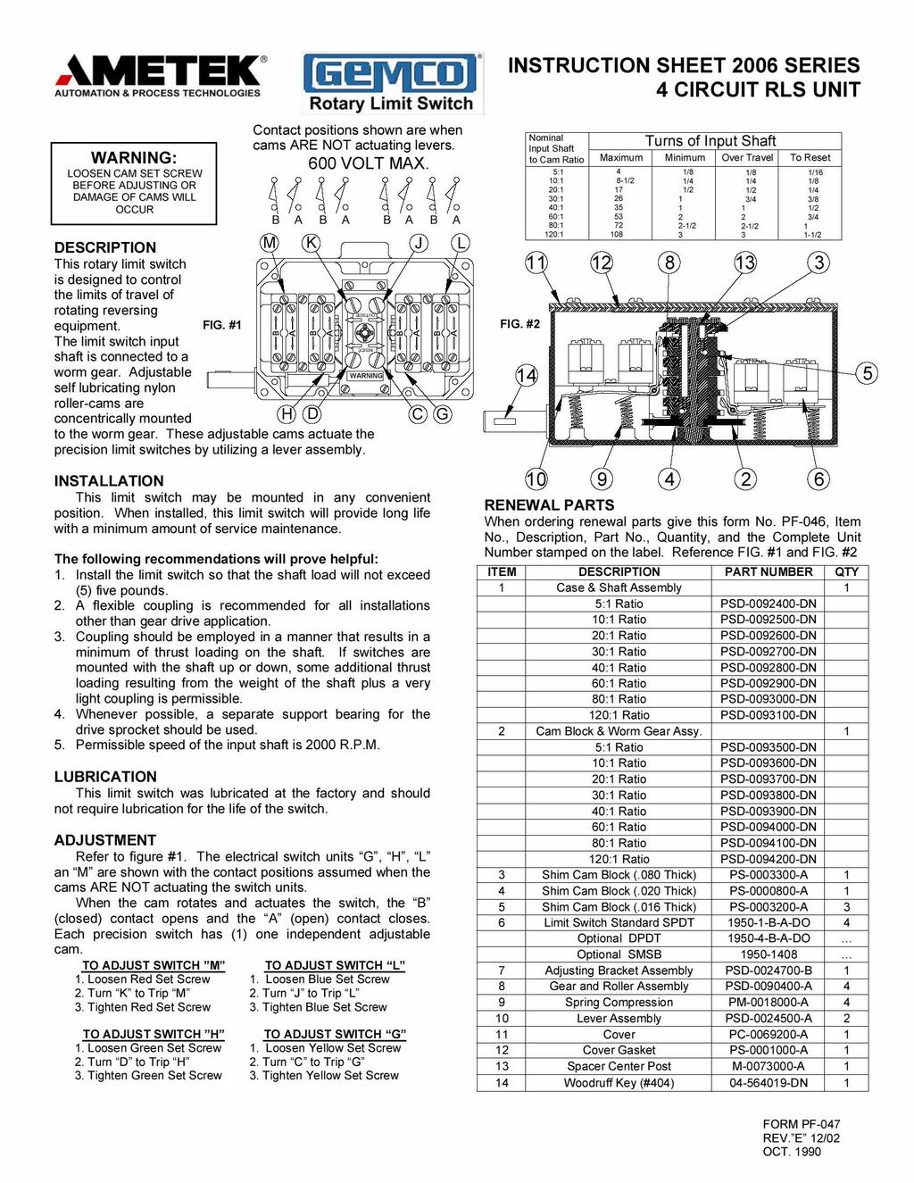 Ametek Gemco Limit Switch Wiring Diagram Control Switches To Furthermore On Forward Reverse Motor