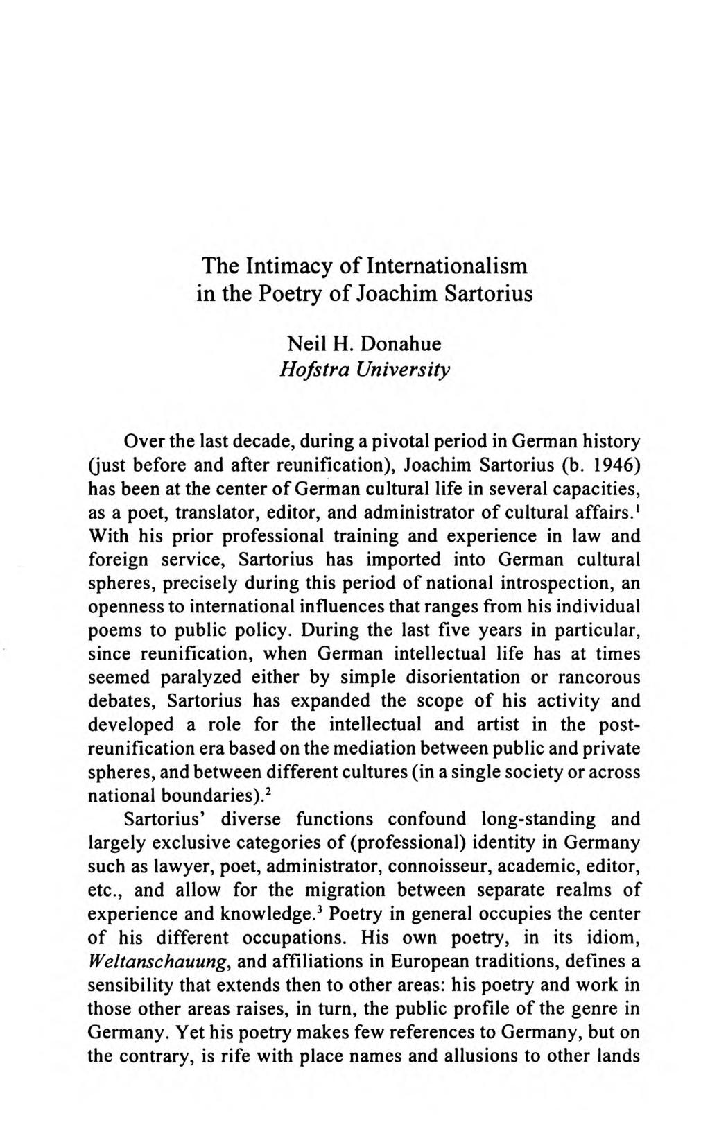 The Intimacy Of Internationalism In The Poetry Of Joachim