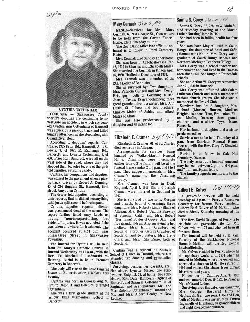 The Owosso Argus-Press Shiawassee County. obituaries & Death July ...