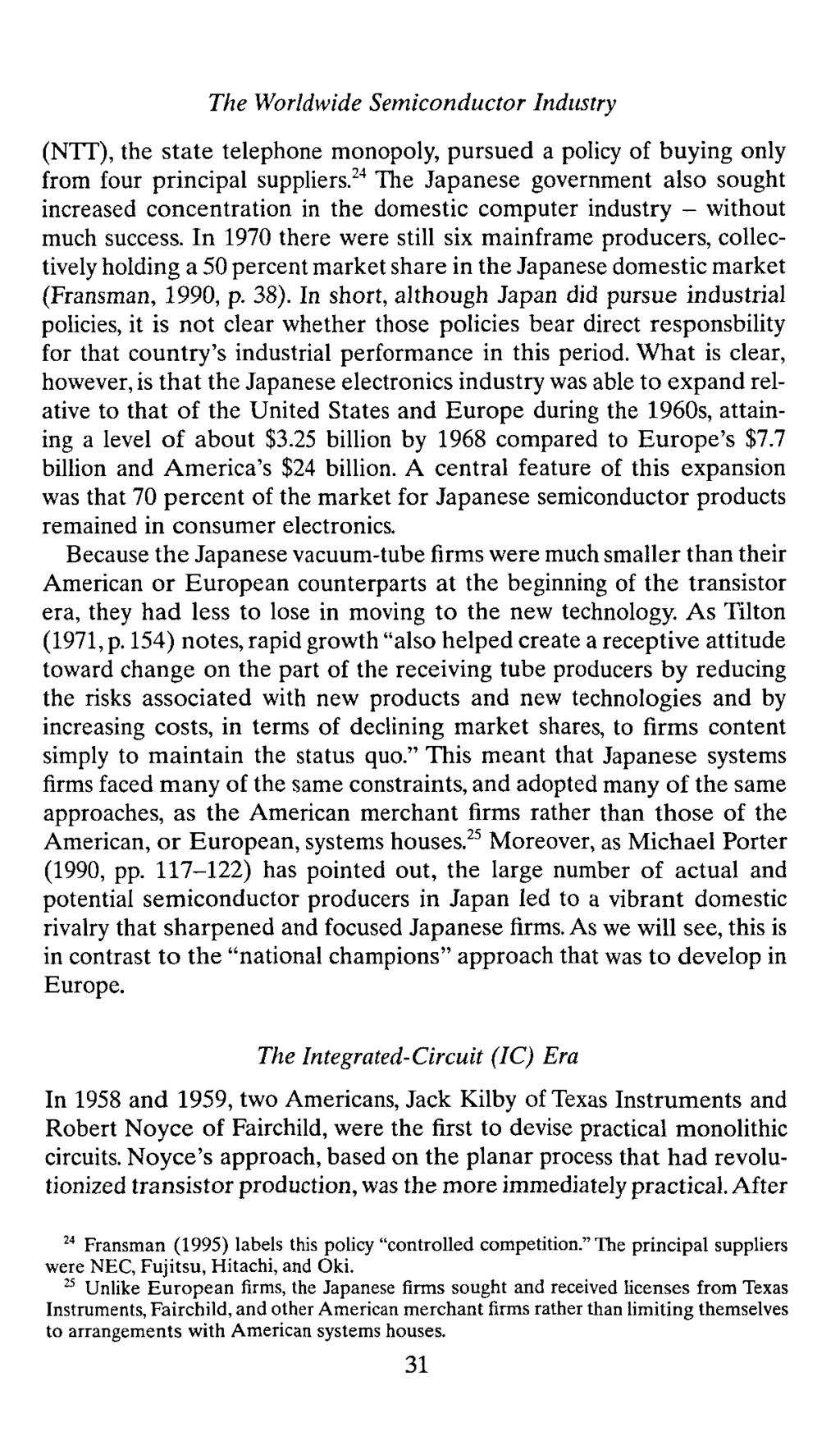 Chapter 2 The Evolution Of Competitive Advantage In Worldwide 1959 Practical Monolithic Integrated Circuit Concept Patented Semiconductor Industry Nit State Telephone Monopoly Pursued A Policy