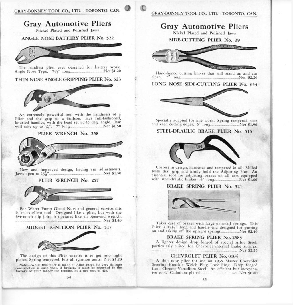 Wrenches And Tools Catalog 136e Gray Bonney Tool Co Limited The Ignition Circuit Diagram For 1935 Chevrolet Master De Luxe Standard Truck Models Automotive Pliers Nickel Plated Polished Jaws Angle Nose Battery Plier 522