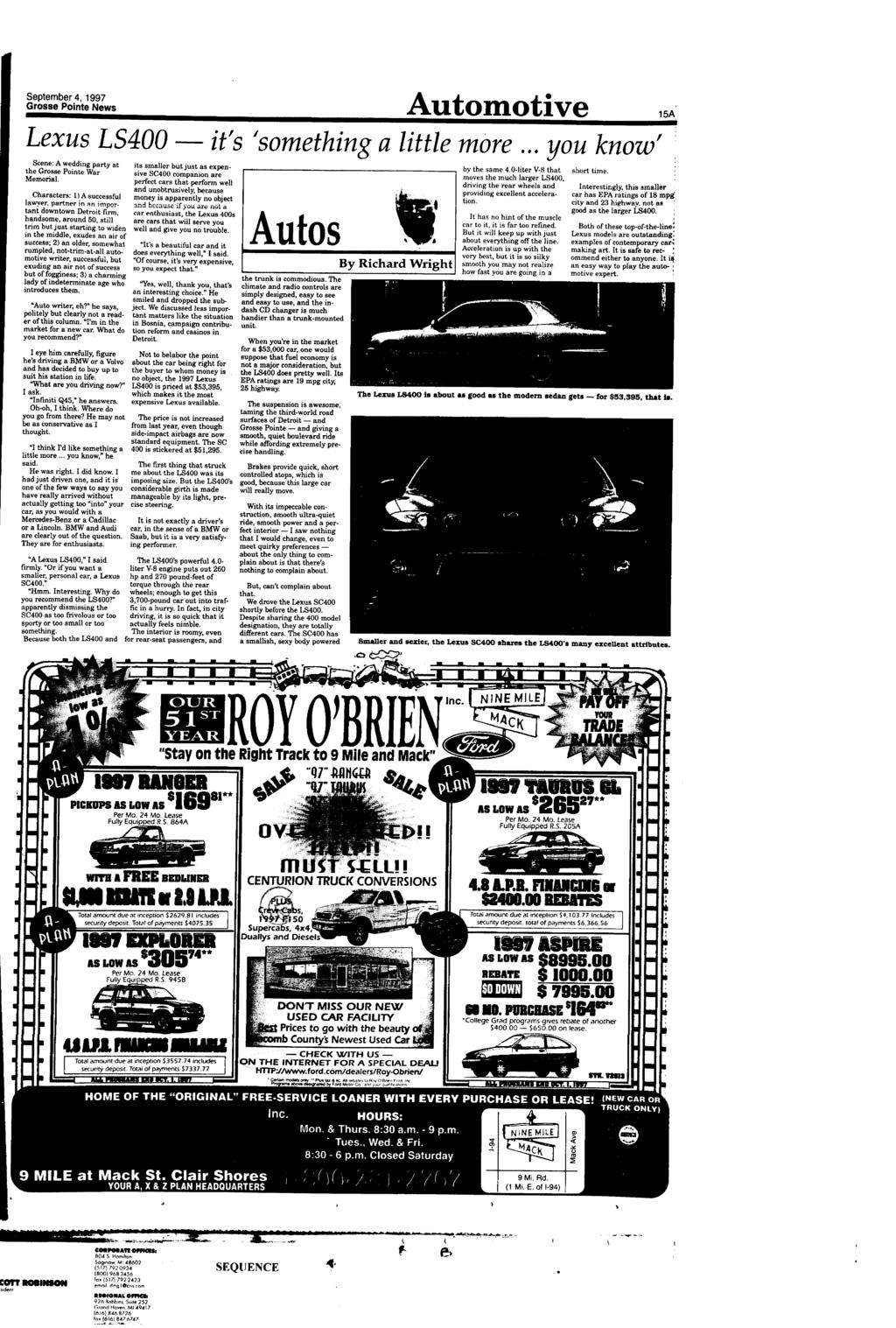 September 4, 1997 Grosse Pointe News Lexus L5400   Scene A Weddmg Party At  The