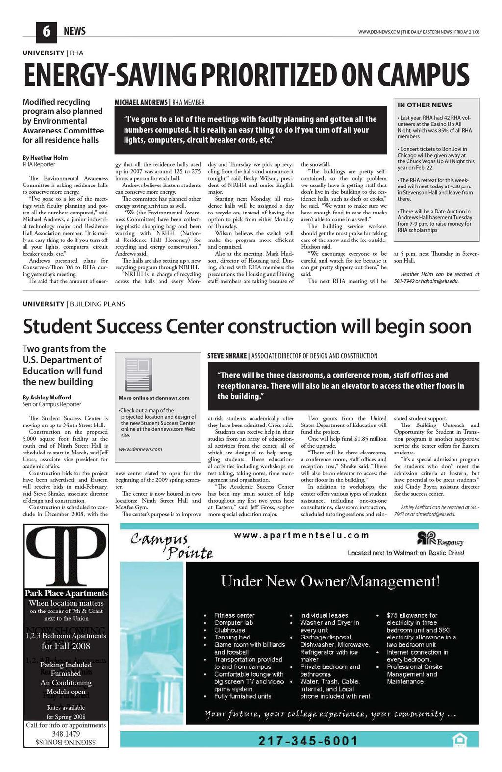 Daily Eastern News February 01 Pdf Series Circuits Jessica Eoct Review Unit 3 Charge Electricity Dennewscom I The Friday 21