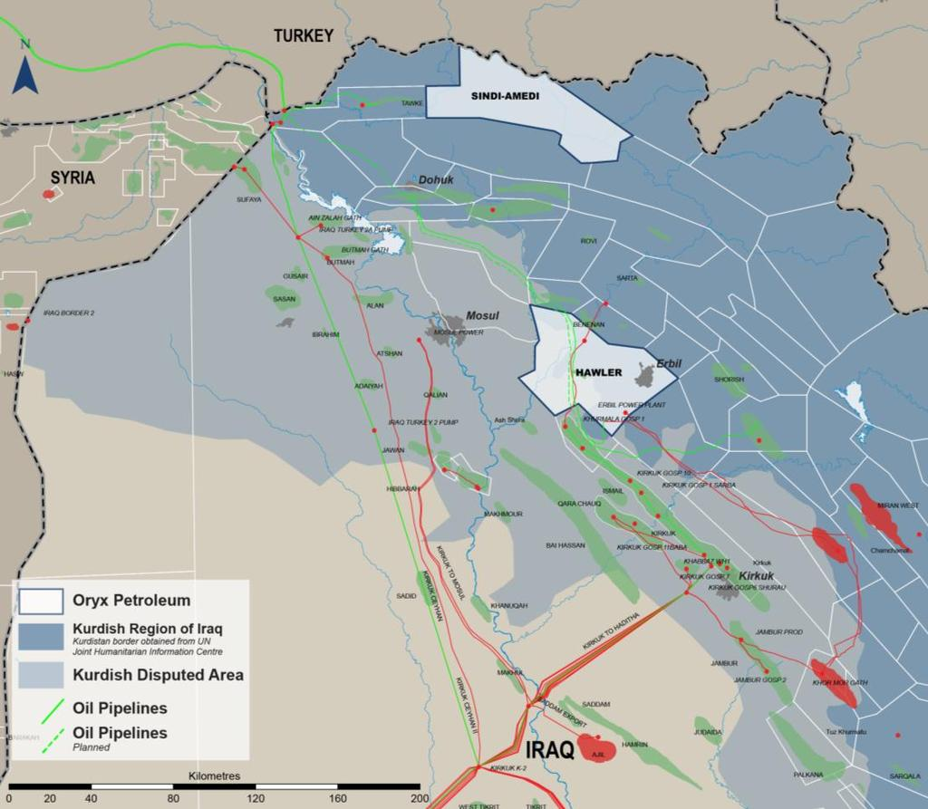 HAWLER LICENSE (KURDISTAN REGION OF IRAQ) Hawler license area well situated for both domestic and export sales ITP 40 & 46 pipelines 600 & 900 Mbbl/d capacity Khurmala Faysh Khabur Planned 40 oil