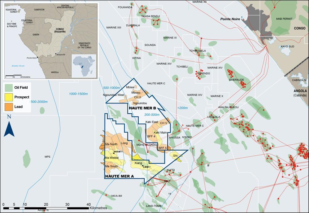 HAUTE MER A & HAUTE MER B (CONGO (BRAZZAVILLE)) Exploration for oil adjacent to large producing fields Wells Planned Spud: July/Aug 2013 Est TD: Sept/Oct 2013 Spud: May 2013 Est TD: June/July 2013