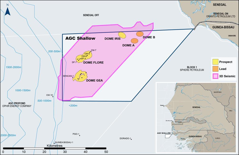 Unrisked Gross (100%) Prospective Resources AGC SHALLOW (SENEGAL / GUINEA BISSAU) Significant light oil potential with hydrocarbon system established by discovered heavy oil Working petroleum system
