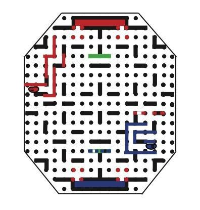 The player s first two moves must complete his or her path and force the mouse into a block. He or she then moves the mouse to the back of the path (b).