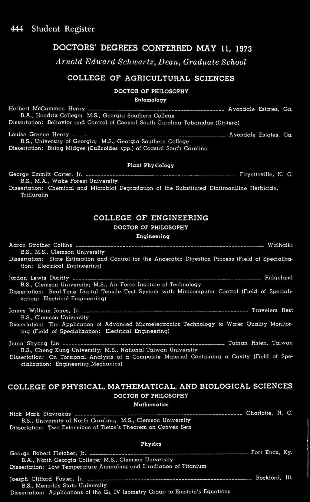 Graduates Of 1973 May Bachelor Science Agricultural Economics Advanced Electronic Circuits Tietze Pdf Bs University Georgia Ms Southern College Dissertation Biting Midges