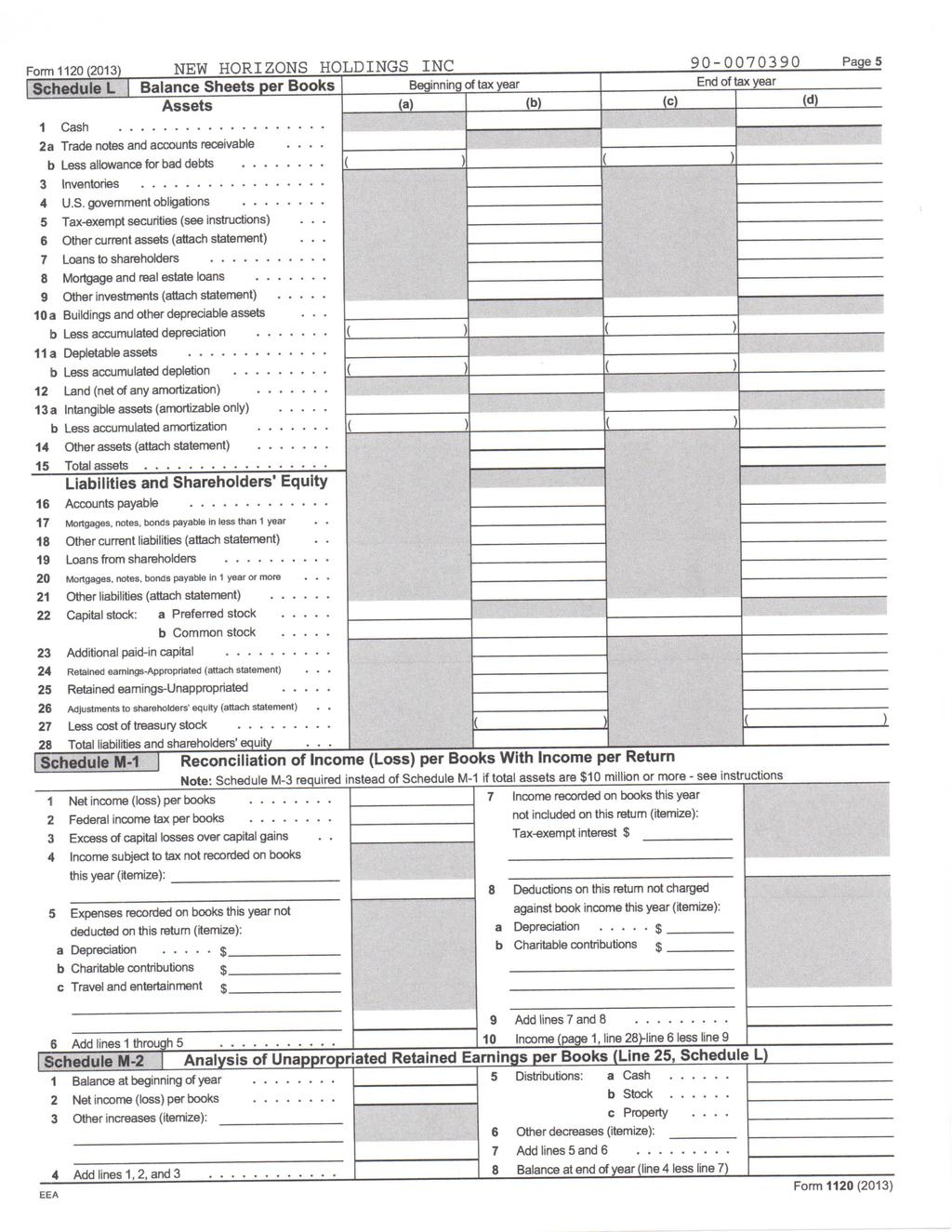 form 1120 2013 new horizons holdings inc page2 schedule c dividends