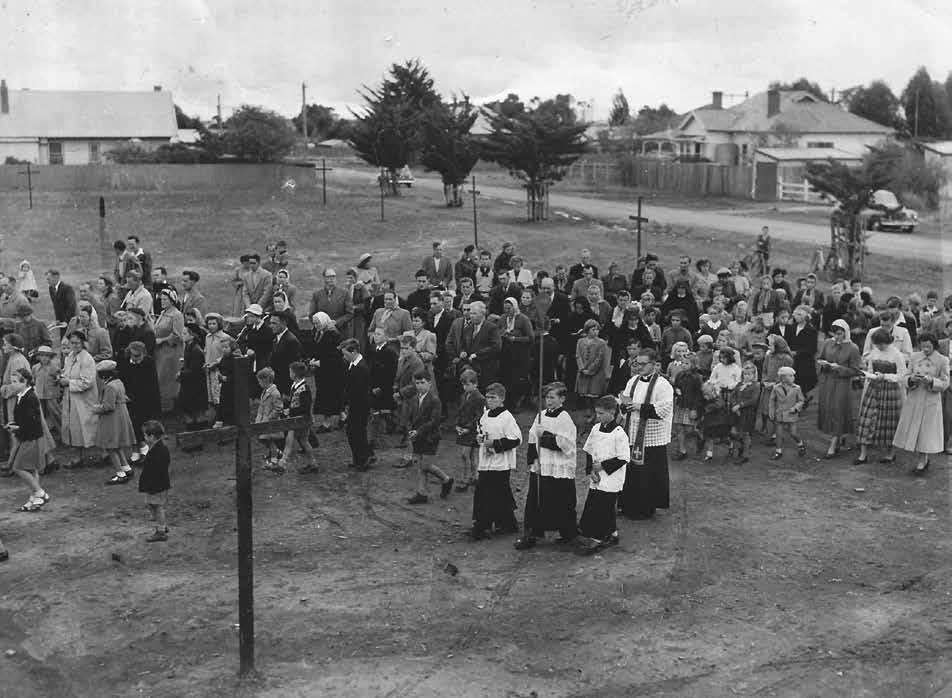 Stations of the Cross, Sacred Heart parish, St Albans, Good Friday 1953: Father Con Reis and parishioners See article by Val Noone,