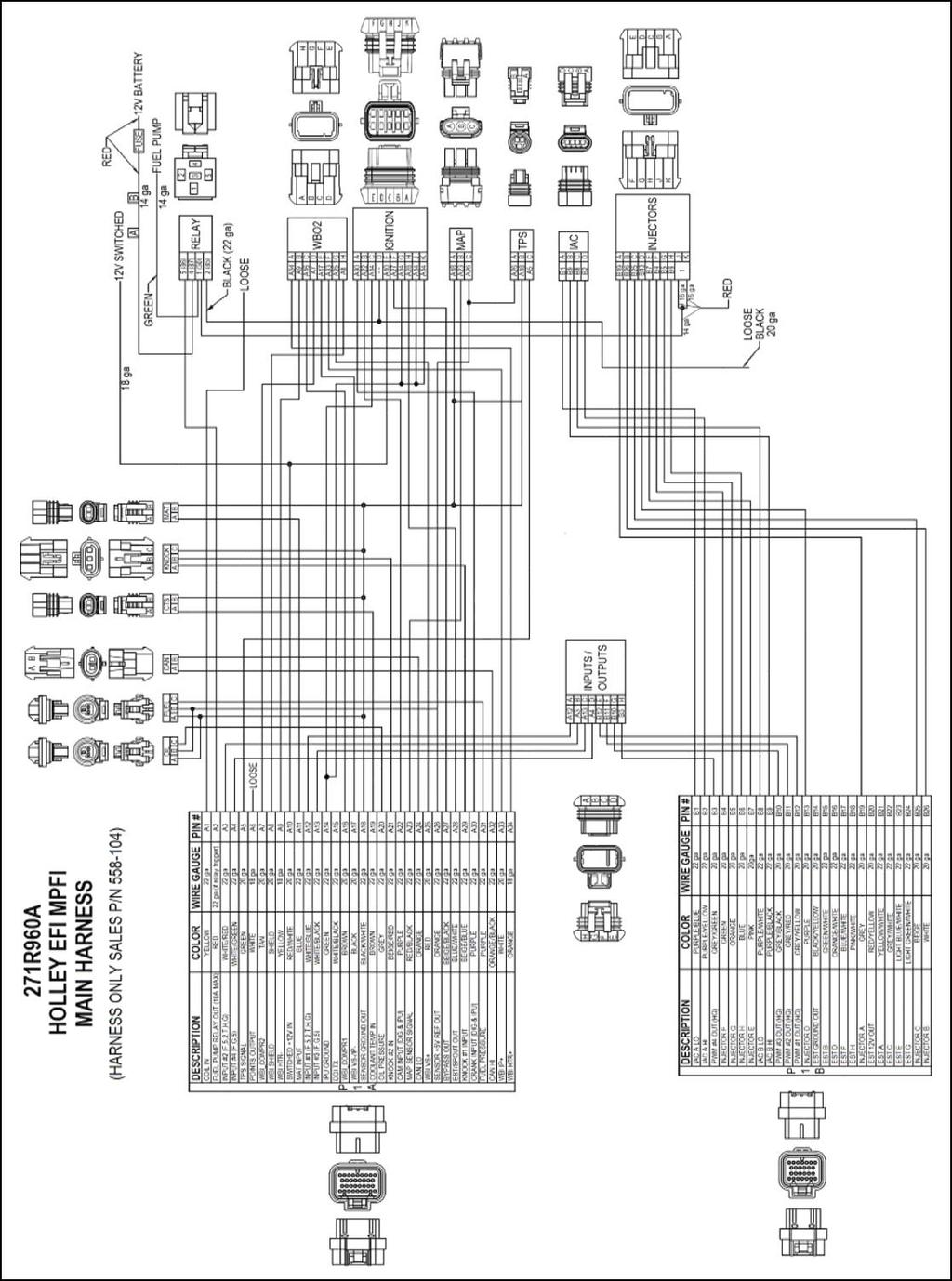 Efi Harness Kit Contents Injector Kits Pdf Holley Wiring Diagram See The Ignition Section 80 For Detailed Warning Connecting This Wire To Coil Of A Cd Will Damage Ecu